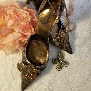 """J. Renee """"Cassidy"""" Gold & Bronze D'Orsay  Heel"""